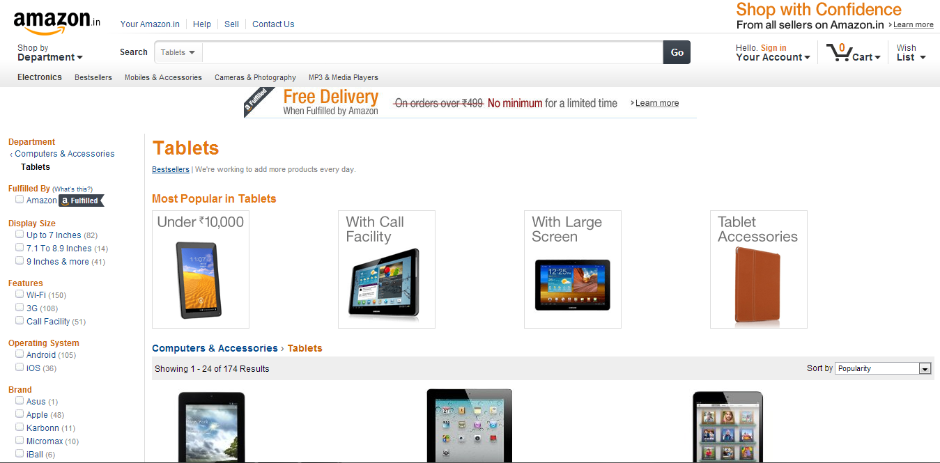 Wanna buy Tablets online? Amazon.in starts selling Tablets and accessories