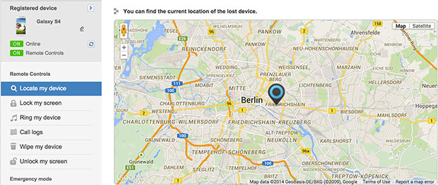 samsung-find-mobile-website-interface
